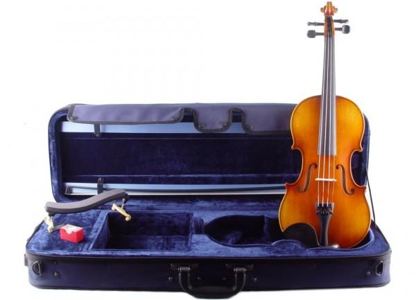 Geigenset mit Violine Walter Mahr, Koffer, Bogen, Kun Stütze