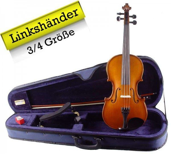 Linkshänder Geigenset mit Koffer Bogen Schulterstütze 3/4 Größe