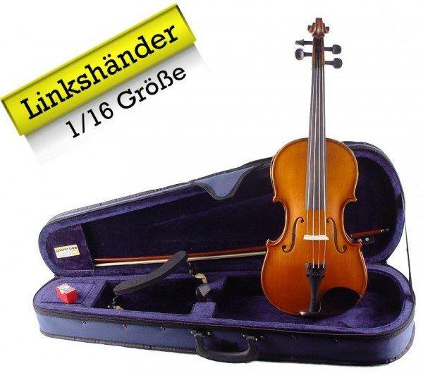 Linkshänder Geigenset mit Etui Bogen Schulterstütze 1/16 Größe