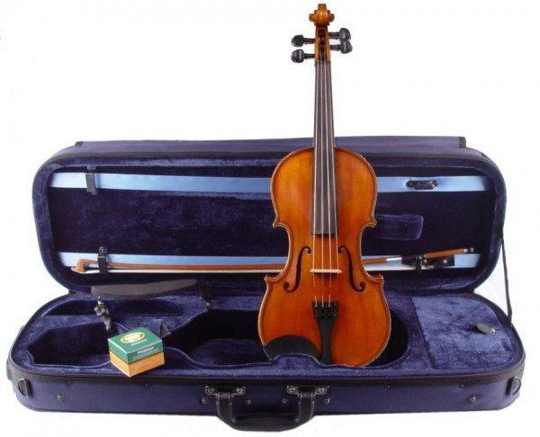Geigenset mit eckigem Koffer Holzbogen Wolf Schulterstütze 4/4 Größe