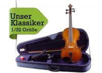 Geigenset 1/32 Größe mit Etui Bogen Schulterstütze