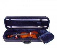 Set: 1/4 Geige Bogen Schulterstütze Koffer Kolophonium Klassiker Deluxe