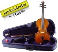 Linkshänder 3/4 Geigenset mit Koffer Bogen Schulterstütze
