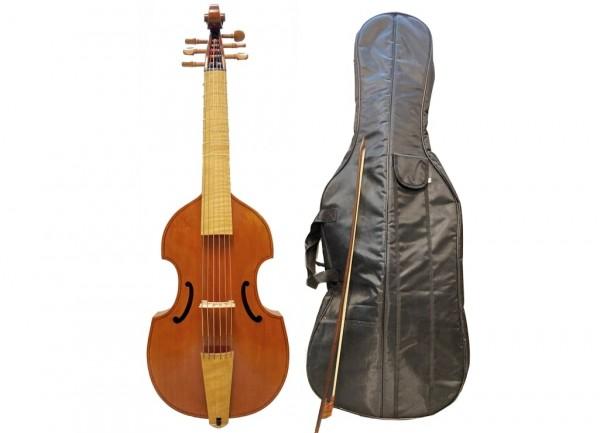 Altgambe mit Barock-Bogen und Tasche-3